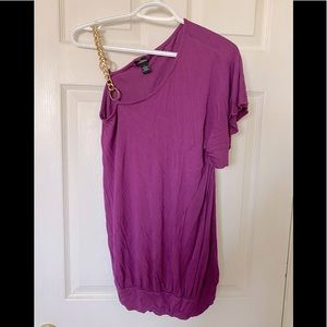 Dynamite Purple Dress With Gold Shoulder Chain